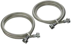 2 Universal Stainless Steel Washing Machine Braided Fill Hoses Hot Cold OEM 4ft