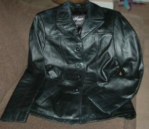 Womens Black Leather Jacket by Wilson's Size Medium
