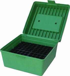 MTM 100 Round Flip Top Rifle Ammo Box Case Container Storage Magnum Green Swift