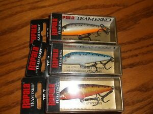 RAPALA TEAM ESKO 07's--lot of 3 DIFFERENT COLORED-FISHING LURES-TE07