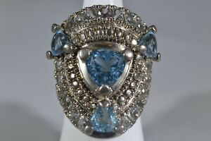 Sterling Silver Blue & White Topaz Ring -- Size 7