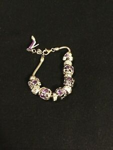 925 Sterling Silver Charm Bracelet with Amethyst-Colored Crystals