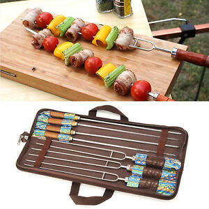 7Pcs Stainless Steel Barbecue BBQ Fork Wooden Handle Outdoor Cooking Tool