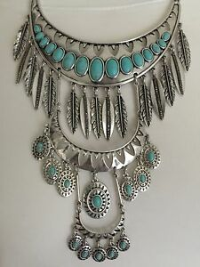Lucky Brand Silver-Tone Stone & Feather Multi-Level Statement Necklace JLRY6217