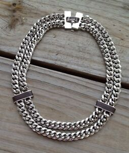 Authentic Ralph Lauren Leather And Silver Link Statement Necklace