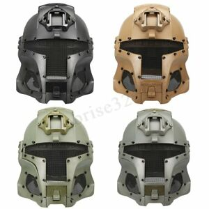 Tactical Airsoft ABS Helmet Shield Full Face Mask Steel Mesh Game Protective