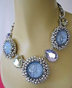 BETSEY JOHNSON STARGAZER SILVER TONE STAR & CLOUD CABOCHON STATEMENT NECKLACE