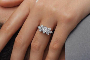 Certified 2.17Ct Pear-Marquise Delicate Diamond Engagement Ring 14K White Gold