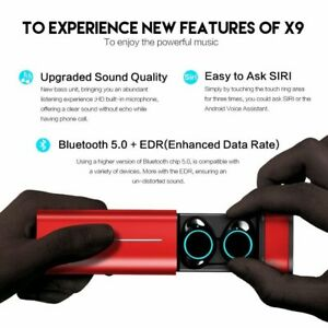 Mini Wireless Earbuds Touch Control With Red Portable Magnetic Charging Case 4H