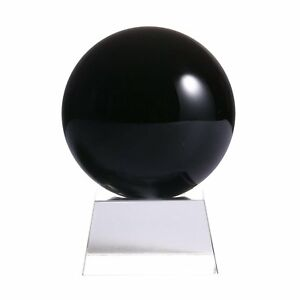 60mm Natural Black Obsidian Rainbow Cat eye Sphere Crystal Ball Healing Stone