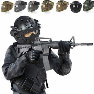Outdoor Tactical Protective Helmet Airsoft Paintball Tactical Full Face Mask New