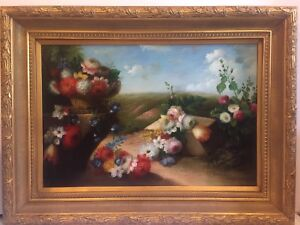 Beautiful Large Still Life With Flowers Oil Painting  Thomas Lee 45