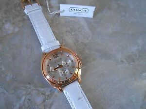 COACH Women's BOYFRIEND White Leather & Rose Gold-Tone Bracelet Watch 14501372