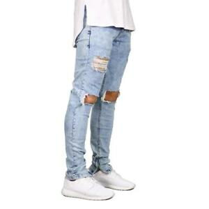 Men Jeans Stretch Destroyed Ripped Design