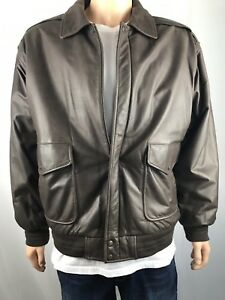 Leather Bomber Jacket Men's Brown Size XL