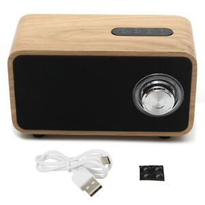 [NEW] 2200mAh DC 5V Digital Multimedia Speaker Bluetooth MP3 FM Radio Wooden Bro