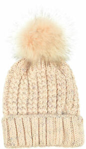 Aprileo Rib Knitted Chunky Beanie Faux Fur Pompom Lined Hat Foldover