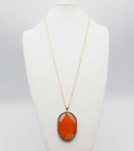 Chunky Gold Tone Necklace Carnelian Oval Pendant Surrounded by Rhinestones