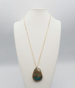 Chunky Blue Calsilica Jasper Pedant Necklace on a Gold Tone Chain