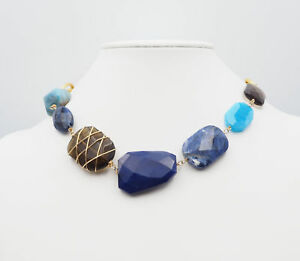 Janna Conner Chunky Stone Necklace in Blues and Brown Tones With Gold Tone Chain