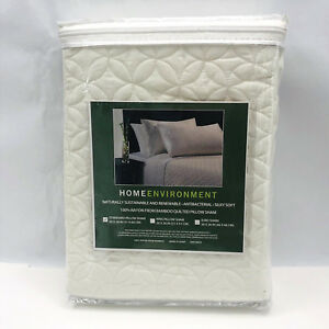 Home Environment Standard Quilted Pillow Sham Ivory 100% Rayon Bamboo 146276