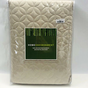 Home Environment King Quilted Pillow Sham Beige 100% Rayon Bamboo 146276