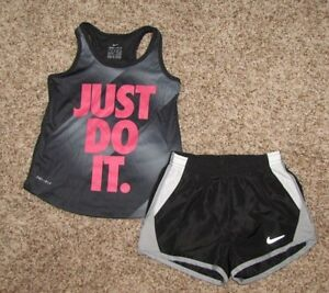 NIKE Girl's Set Shirt Tempo Running Shorts Size 4