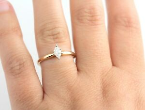 14K .25 CT Marquise Diamond Engagement Ring Gold Classic Solitaire 14 Promise