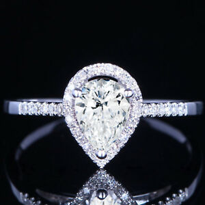 Solid 10k White Gold 1.25 Ct Diamond Pear Shape Halo Engagement Wedding Ring