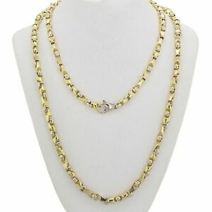 14k Yellow & White Gold Handmade Fashion Link Necklace 24