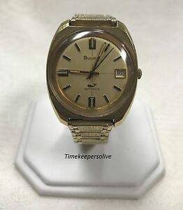 a028 Vintage Original Bulova Automatic Golden Tone Stretch Bracelet Men's Wrist