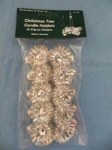 Candle Holders, Silver Clip On, Set 10, Christmas Tree Clips, holds 1/2