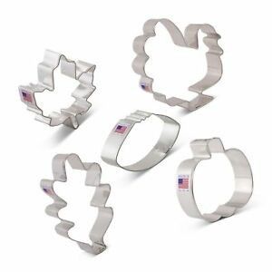Fall Thanksgiving Cookie Cutter Set with Recipe Book - 5 Piece - Maple Leaf, ...