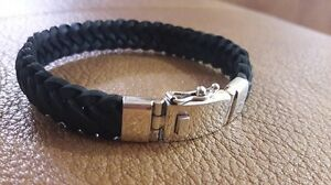 BEST SELLER! Men Square Black Leather Bracelet w 925 Sterling Silver Clasp 8