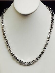18k  Solid White Gold Anchor Mariner Bullet chain necklace 7.9 MM 115 Gram  20