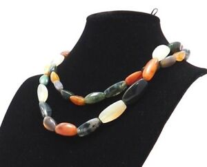 Old Vinatge Heavy Quartz & Natural Stone Agate Beaded Fashion Chunky Necklace