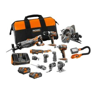 RIDGID Power Tool Combo Kit 18V L-Ion Cordless 2.0 Ah Battery Charger 12-Piece