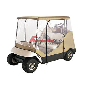 2 Seater Golf Cart Cover W Clear and Zippered Doors for EZ Go Club Car Yamaha