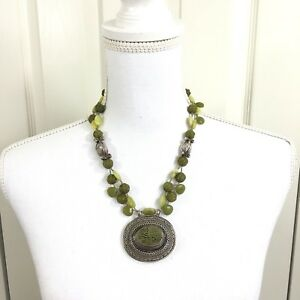 Heather Outlaw Necklace Jade with Antique Silver Turkish Pendant Silver Beads
