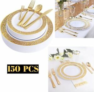 150PCS Gold Lace Plastic Plates Disposable Silverware Tableware Set Dinnerware