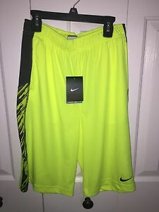 NWT ~ Boys Nike Dry Fit Neon Yellow & Black Shorts ~ YOUTH SIZE XL