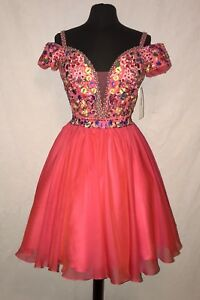 ANGELA & ALISON 62020 PROM PARTY COCKTAIL SHORT DRESS 14 PINK $129 OBO NWT
