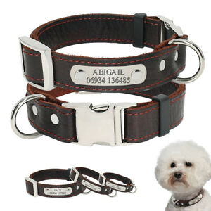 Heavy Duty Leather Dogs Collar Engraved Name Free Personalized Nameplate Yorkie