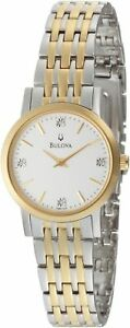 Bulova Women's Diamond Accented Two Tone Bracelet Watch 98P115 JS