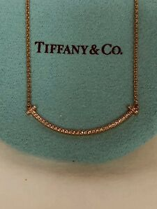 Tiffany & Co Pink 18k Gold Smile Neckless with Diamonds W box & pouch