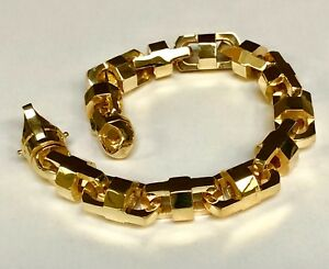 14k Solid Yellow Gold Anchor Mariner Bullet Men Link Bracelet 13.5MM 150 grm 10