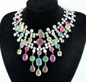 Vintage 60s KJL Kenneth J Lane Drippy Frosted Glass Rhinestone Bib Necklace BOOK