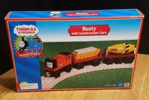 NEW Thomas & Friends Rusty With Construction Cars Real Wood 2001 Wooden Railway