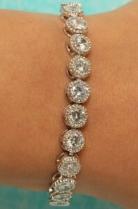3.25 CT DIAMOND TENNIS BRACELET 14K WHITE GOLD FINISH UNIQUE AND CLASSY WOMENS