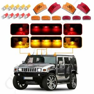 10x Amber/red Roof Cab Marker Light w/5050 LED Bulbs for 03-09 Hummer H2 SUV SUT